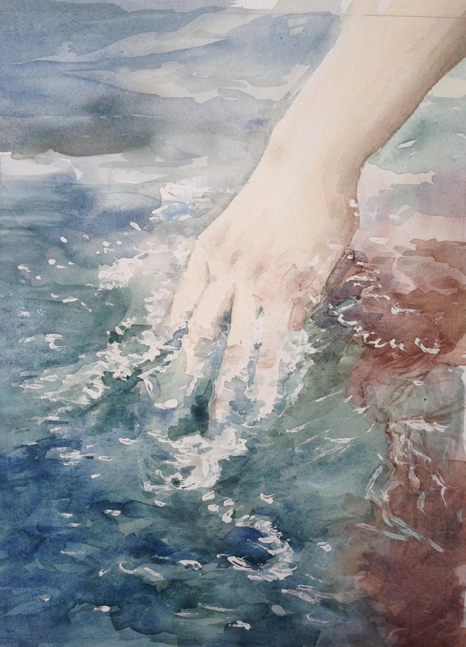 25-Hand (2luik)/aquarel 20x30cm