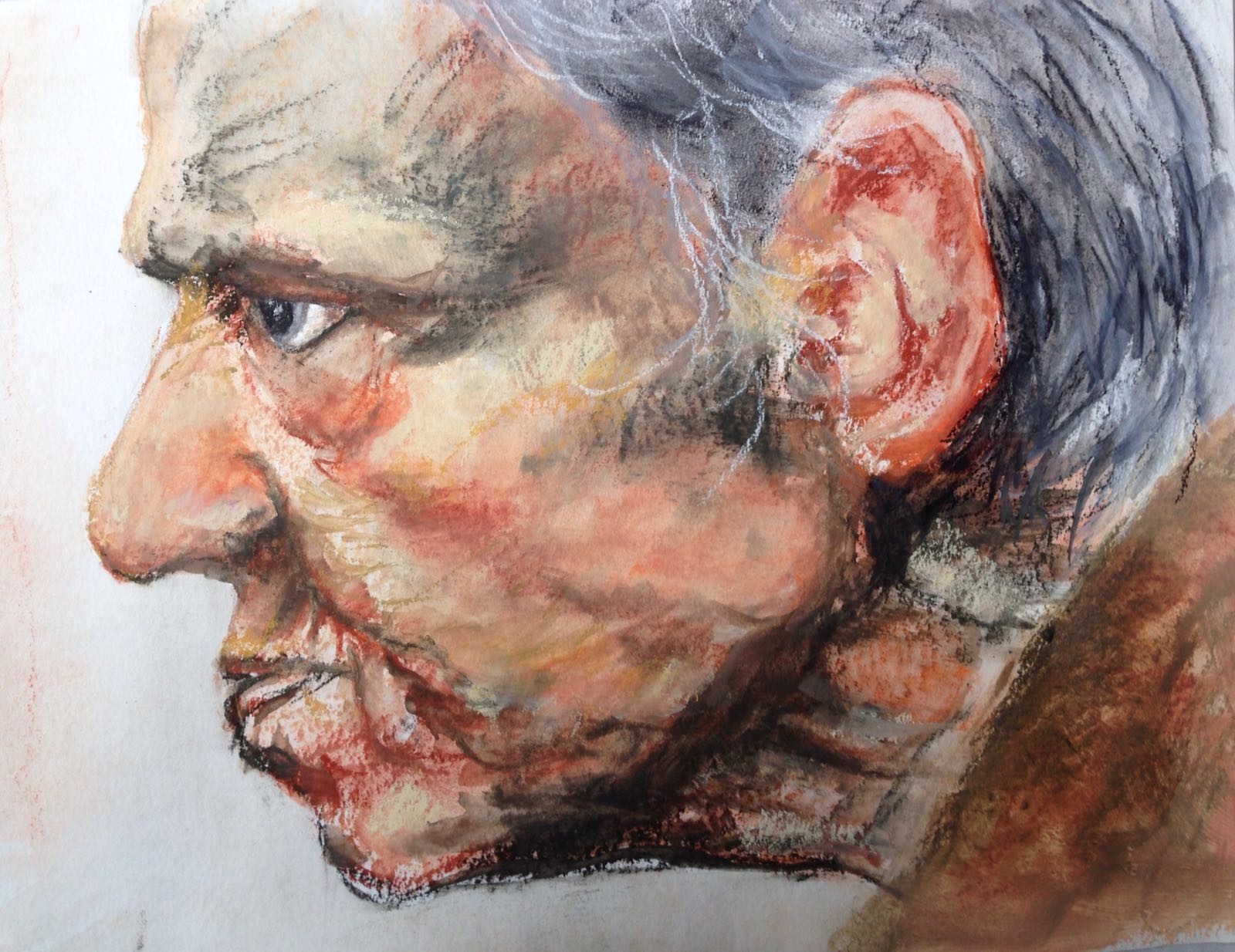 33-Angry old man/wet pastel/30x40cm
