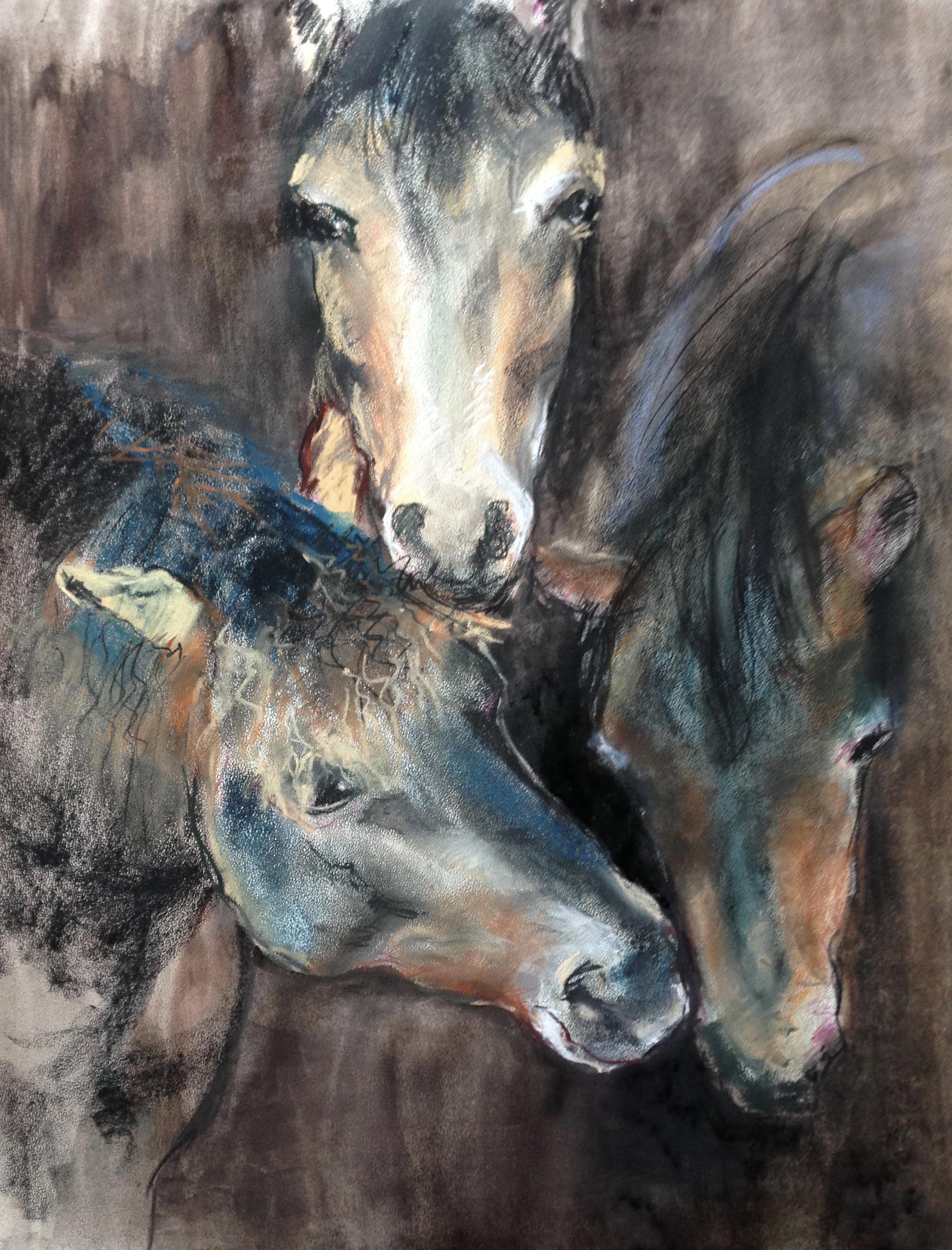 58-3 paarden/wet pastel