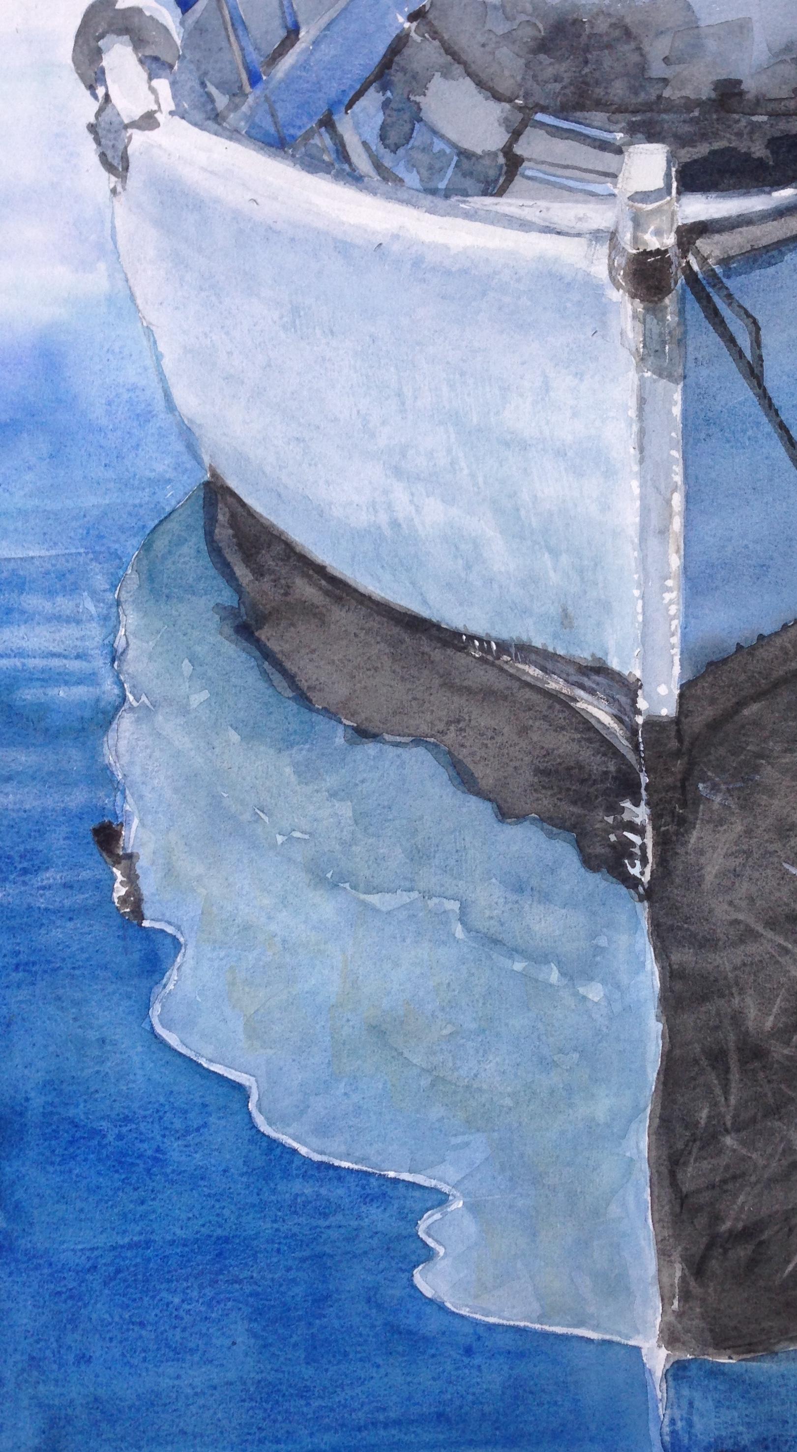 S-30 Blauwe sloep/aquarel