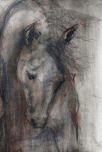 35-Paardenhoofd gebogen/wet pastel