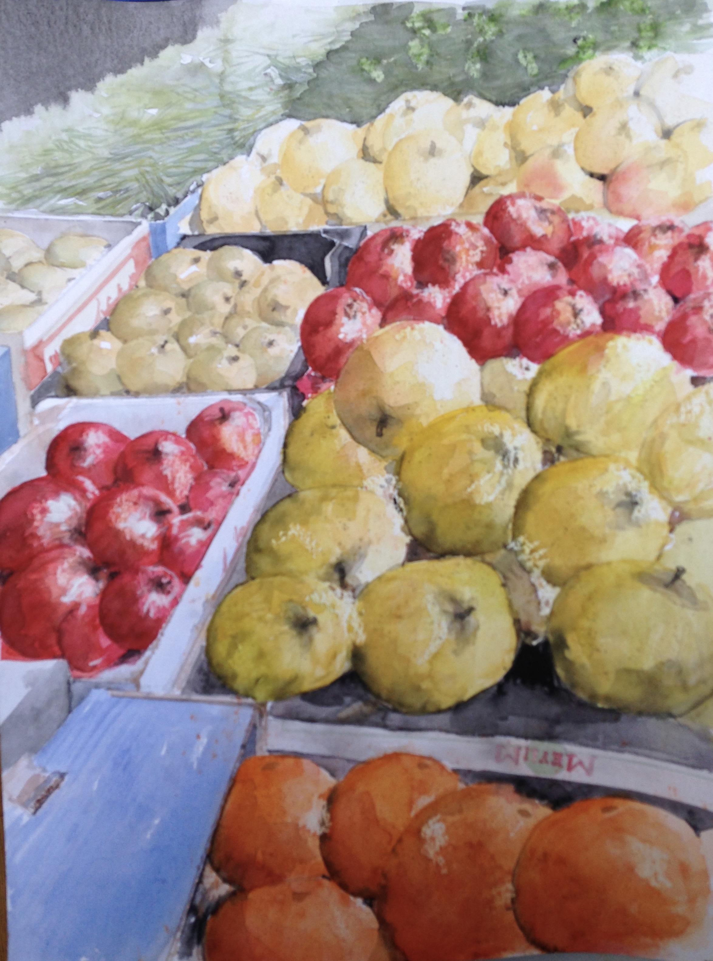 83-Un marché à Paris/aquarel 47x35cm
