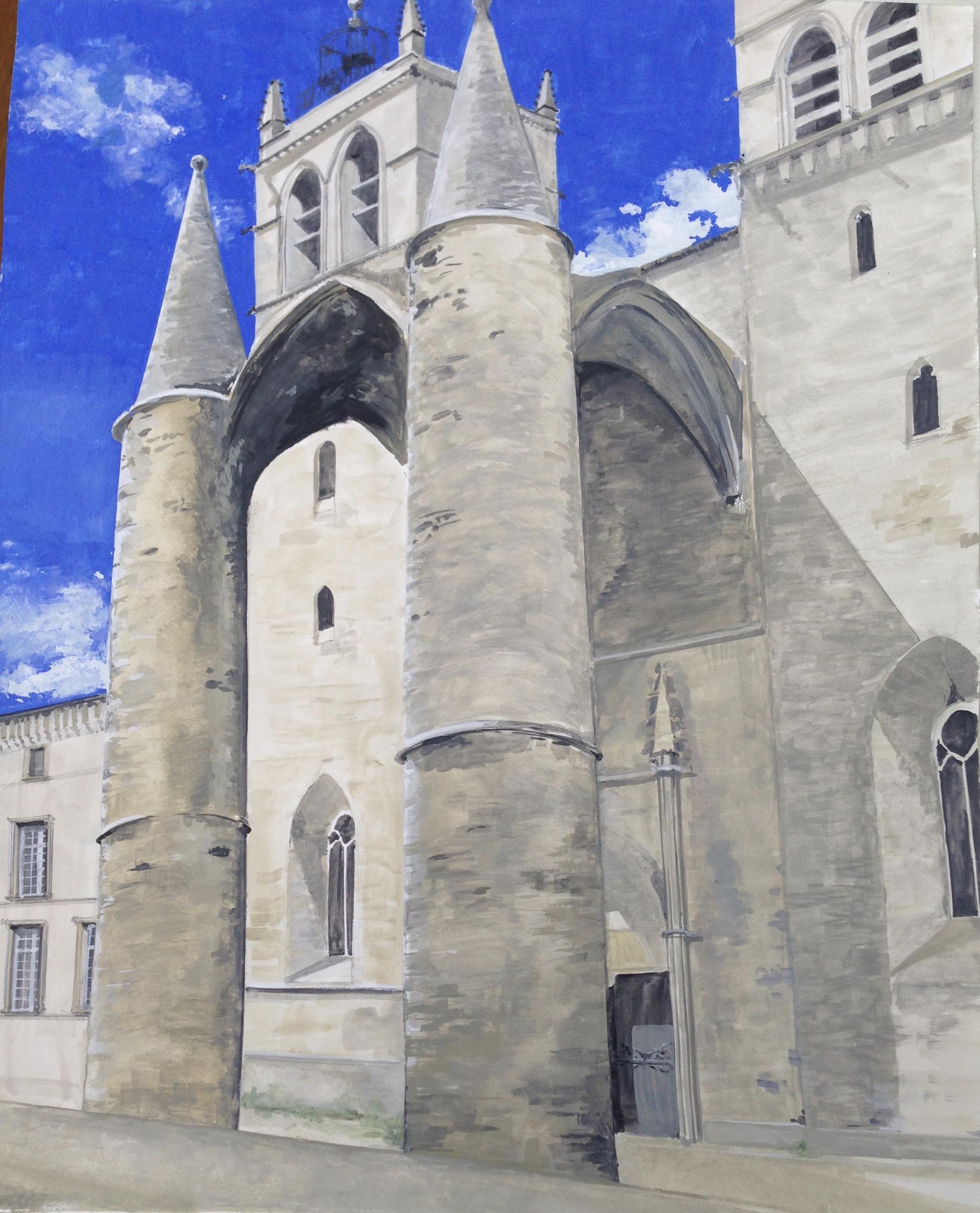 S- La cathédrale Saint-Pierre de Montpellier/gouache 40X50cm