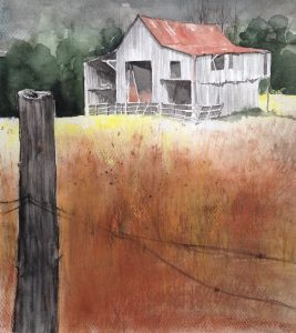 134-old barn/aquarel 30 x 40cm