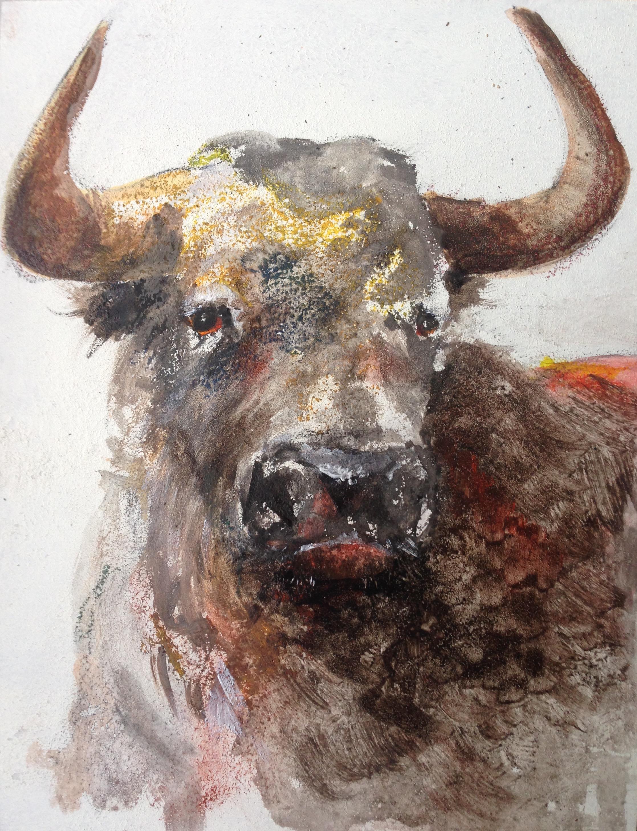 137-Bull/acryl op paneel 35 X 45cm