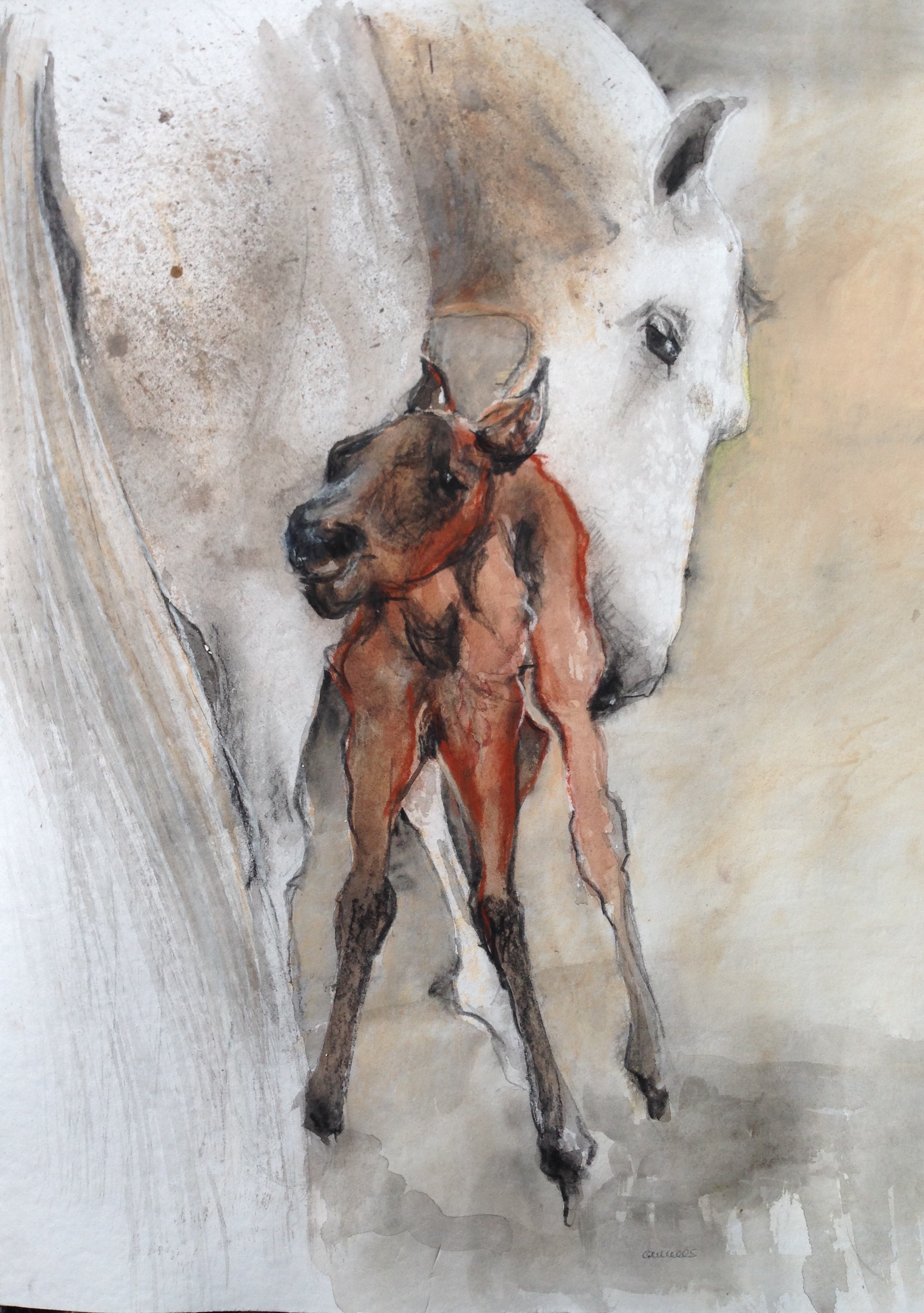 153-new born/aquarel/pastel 40X50cm