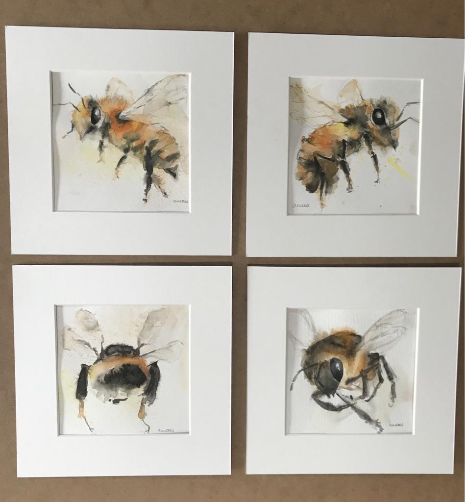 S-270 Bees aquarel (4X) 14X14cm