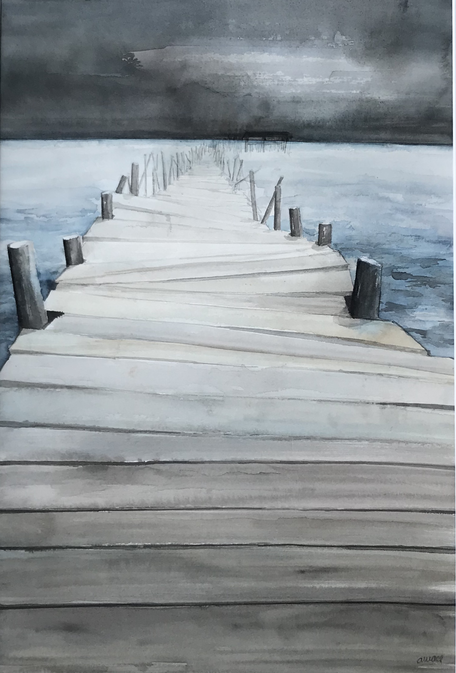 187-avant l'orage/aquarel 30 x 40cm