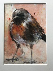 177-roodborstje/aquarel 14 x 20cm