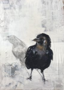 S-202-corvidae/mixed media 40 X 60cm