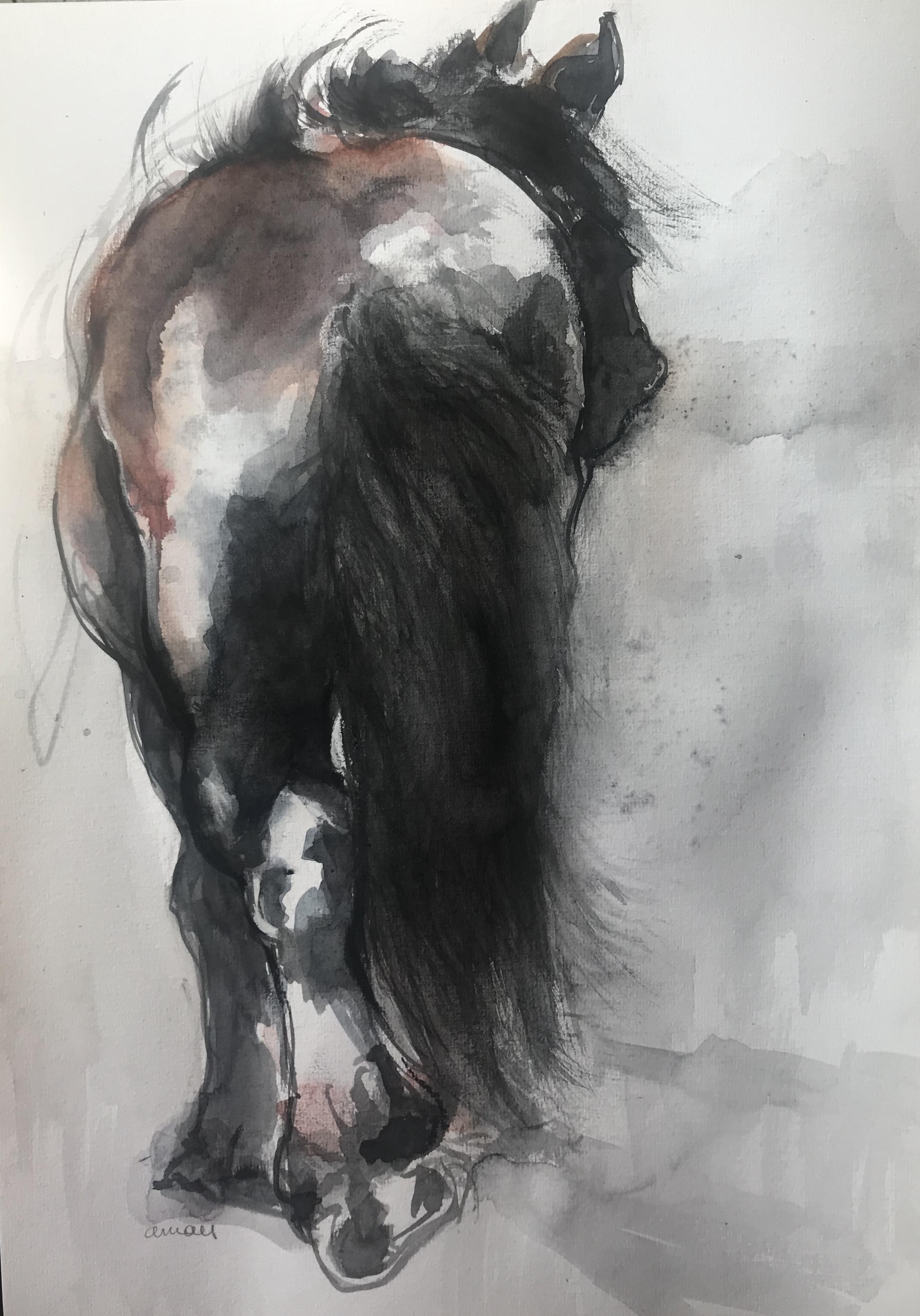 204-Draft horse/aquarel 30 X 40cm