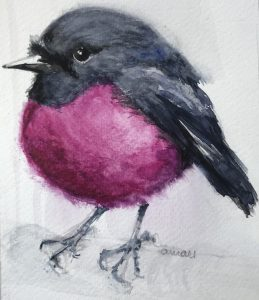 209-Australian pink robin/aquarel&pastel 14X18cm