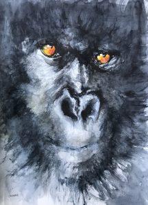 226-gorilla/aquarel 30X40cm