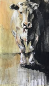 227- zweedse koe/mixed media 50x90cm